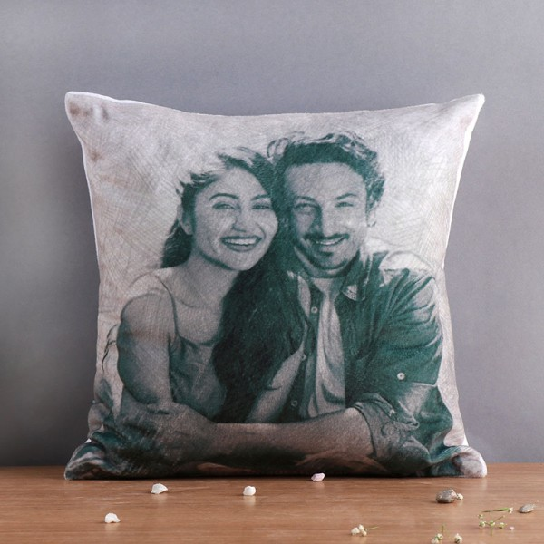 One Personalised Sketch Art Photo Cushion
