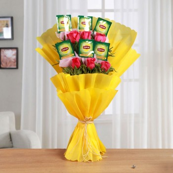 One Bouquet of 6 Dark Pink Roses and 6 Sachet of Lipton Green Tea with Yellow Tissue Packing