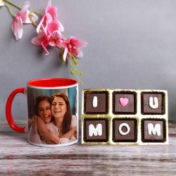 One Personalised Red Handle Mug For Mom with pack of 6 pcs Homemade Chocolate