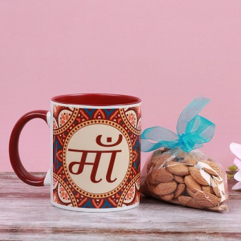 One Ma Printed Ethnic Mehroon Handle Mug with Almond Pack