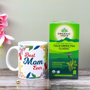 "One "" Best Mom Ever"" Printed Theme White Handle Mug (350 ml) and One Pack of Organic Tulsi Green Tea"