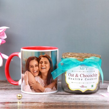 One Personalised Red Handle Mug for Mom with Jar of Cookies