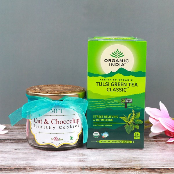 A Jar of 6 Oats and Chocochip Cookies with Pack of Organic Tulsi Green Tea