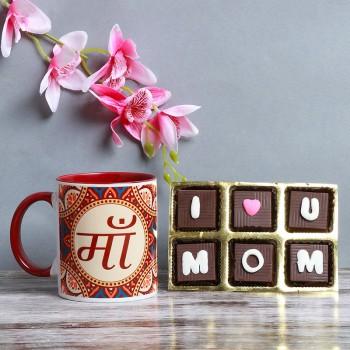 "One Ma Printed Ethnic Mehroon Handle Mug and One 6 pcs "" I Love U Mom"" Handmade Chocolate Pack"
