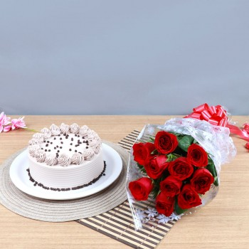 One Bouquet of 10 Red Roses in Cellophane Packing with 1/2 Kg Coffee Cake