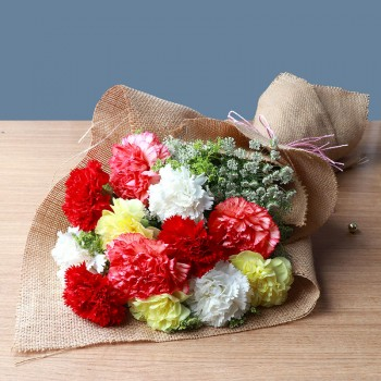 12 Assorted Carnations (Yellow,White,Red and Pink)  with Jute Packing