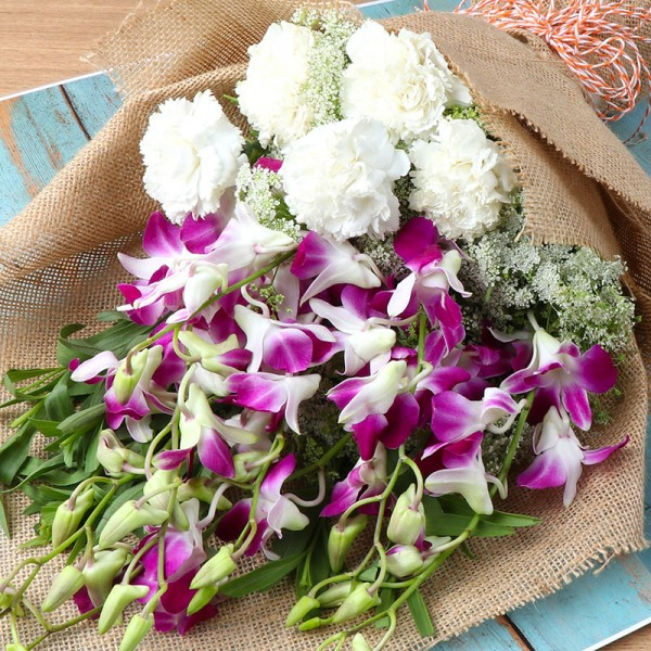 Mixed Flowers in Jute Packing