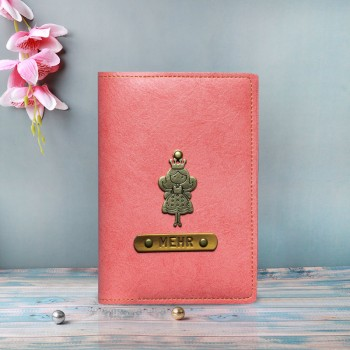 One Peach Colour Personalised Passport Cover For Women