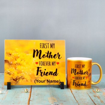 Precious Mom Personalised Combo of Personalised Tile and Golden Mug