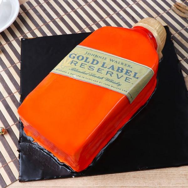2 Kg Liquor Theme Gold Label Fondant Chocolate cake