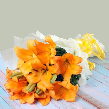 6 Asiatic Orange Lilies wrapped in special paper