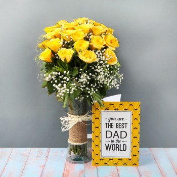 20 Yellow Rose with Greeting Card for DAD and Glass Vase wrapped with jute