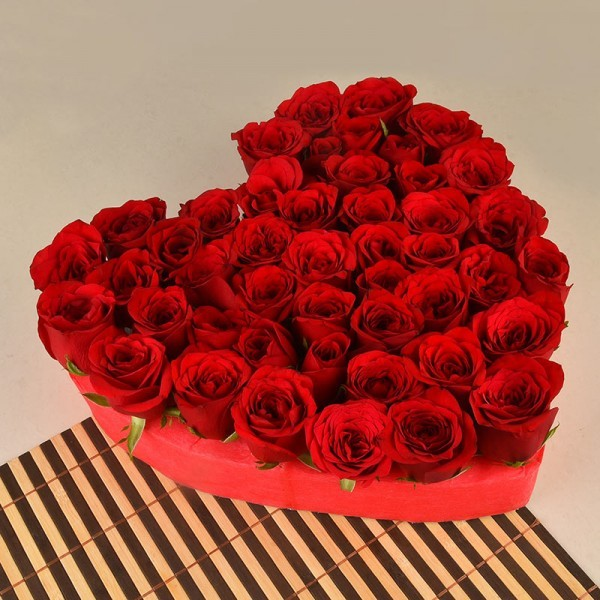 Heart-Shaped Floral arrangement of 50 Red Roses