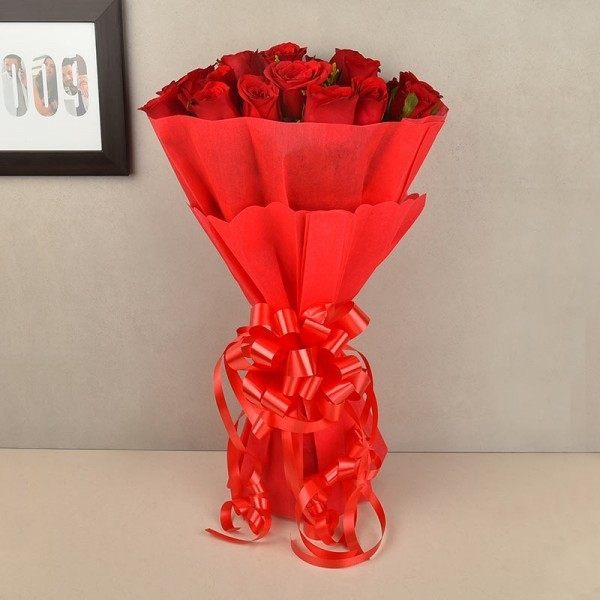15 Red Roses with Paper Packing