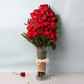 40 long-stemmed Red Roses in Glass Vase