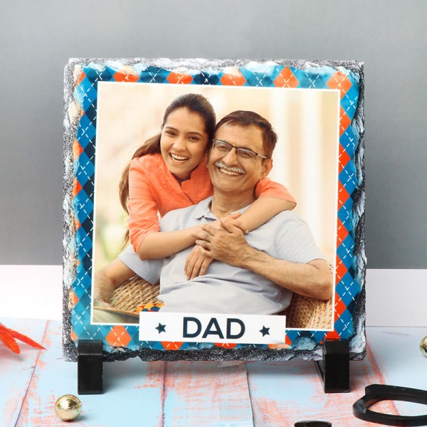 One Personalised Square Photo Stone For DAD