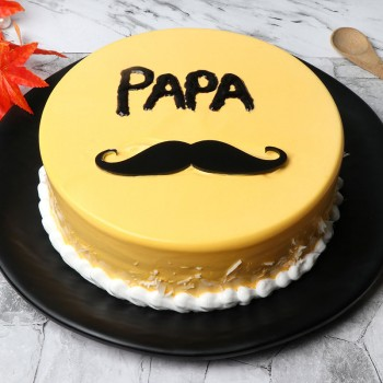 Half Kg Mango Cake Decorated with Mustache on it for DAD