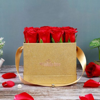16 Red Roses with MFT Golden Luxury Square Box