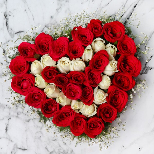 Heart Shape Arrangement of 40 Roses (Red and White)