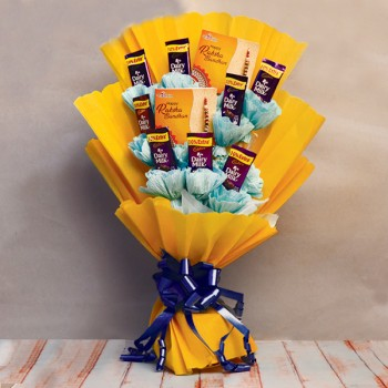 Dairy Milk Chocolate Bouquet with Rakhis