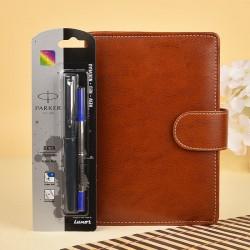 Leatherite Organiser N Parker Pen Set