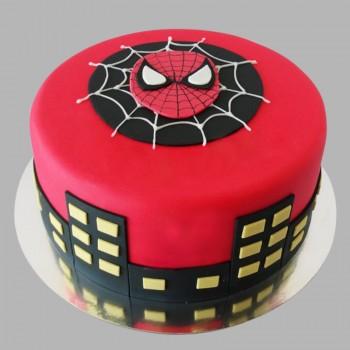 1 Kg Chocolate Fondant Round Spiderman Cake