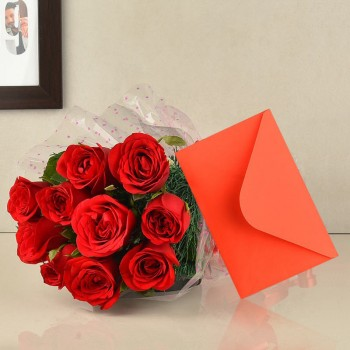 10 Red Roses with Greeting card
