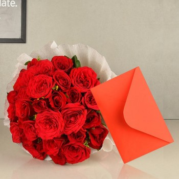 20 Red Roses in Paper Packing with Greeting card