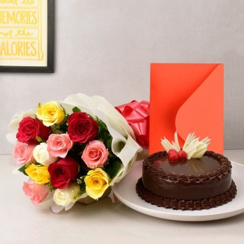 12 Mix Roses in Paper Packing with Half Kg Chocolate Cake and Greeting Card