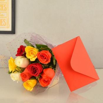Mixed Roses n Greeting Card