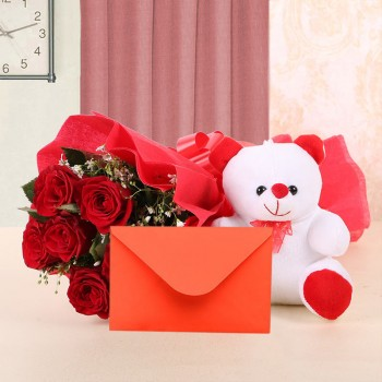 6 Red Rose with Greeting Card (As per occasion) and Teddy Bear
