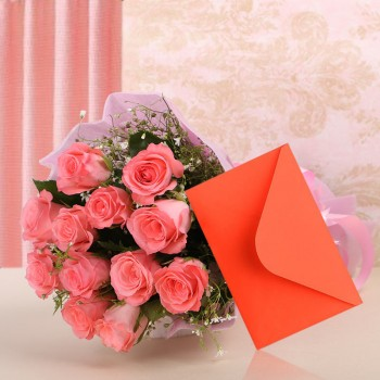 12 Pink Roses in Paper Packing with Greeting Card