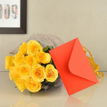 12 Yellow Roses in Cellophane Packing with Greeting Card