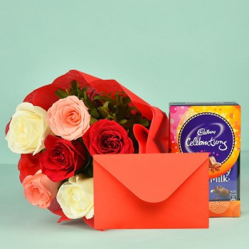6 Colorful roses with Cadbury Celebration (61.3 gm) and a Greeting Card