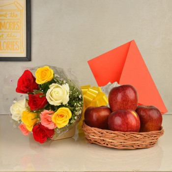 10 Colorful Roses in Cellophane Packing with 1 Kg Fresh Apples in a Basket and a greeting card