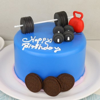 One Kg Gym Theme Chocolate Fondant Cake for Birthday