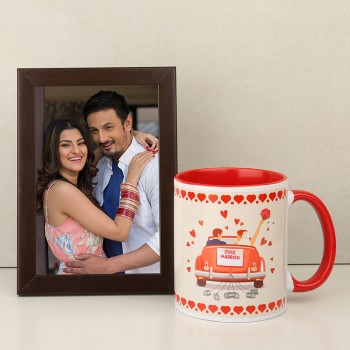 One Printed Quote Red Handle Ceramic Coffee Mug with Small Photo Frame for Married Couple