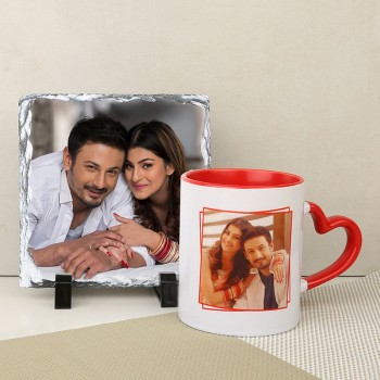 Customized Combo Of Heart Handle Red Mug and Photo Stone for Husband