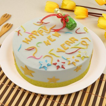 1 Kg Fondant Vanilla New Year Theme Cake