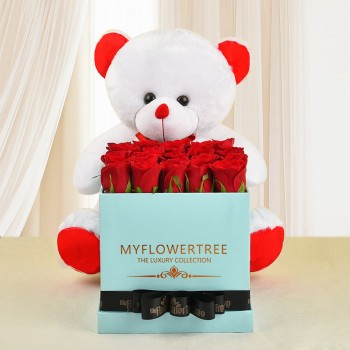 30 red roses in blue box tied with black ribbon -with Teddy Bear (18 inch)