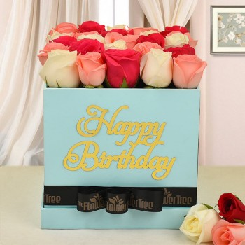 0 mix roses(white, baby pink, dark pink roses) in happy birthday MFT blue box