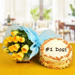Crunchy Butterscotch Cake with Bright Roses for Friends