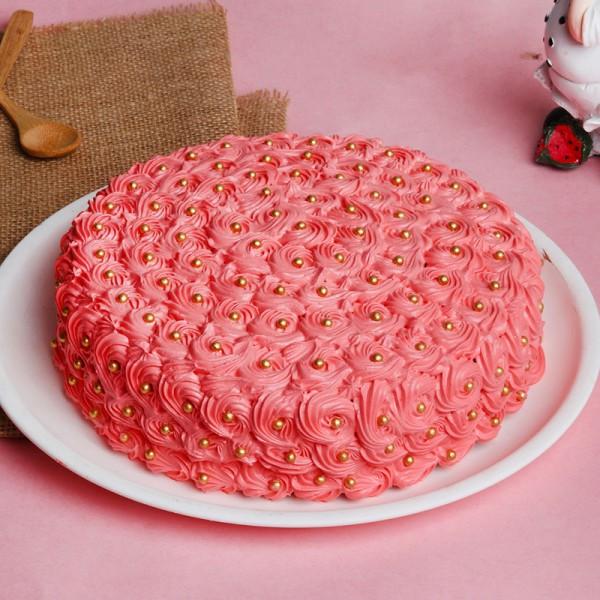 Half Kg Designer Red Rose Vanilla Cream Cake