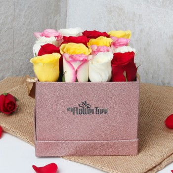 16 Colorful Roses Arranged in Rose Gold Luxury Box