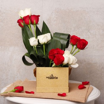 16 (Red and White) Roses Arrangement in Golden Luxury Box
