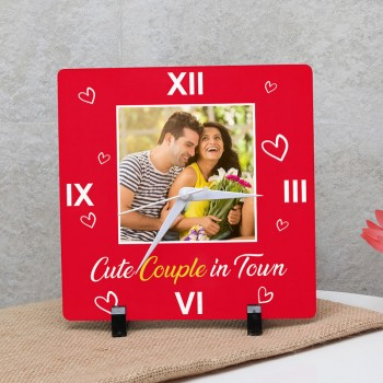 One Personalised Square Table Clock for Couple