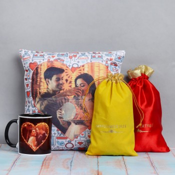 Set of Karwa Chauth Personalised Cushion and Mug with 100 gm Almond and 100gm Cashew Nut
