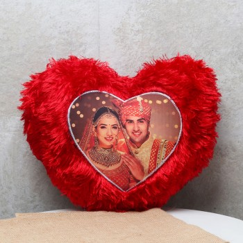One Personalised Red Heart Fur Cushion