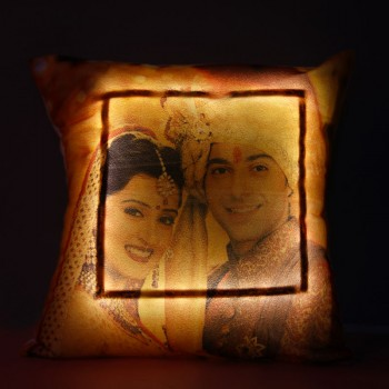 One Personalised LED Cushion for Karwa Chauth