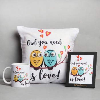 Couple Owl Printed Coffee Mug, Cushion and a Postcard